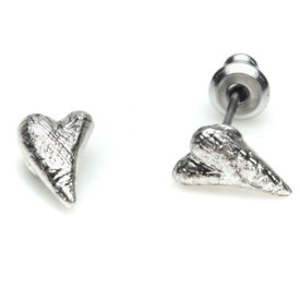 Pilgrim Funky Heart  Stud Earrings Silver Plated Crystal 60121-6043