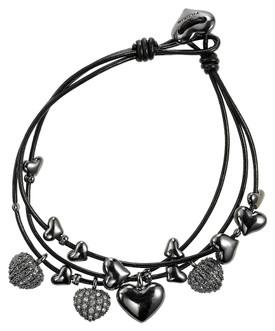 Pilgrim Classic Leather Heart Chamed Bracelet Hematite