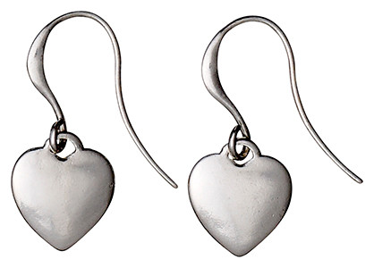 Pilgrim Silver Plated Heart Drop Earrings