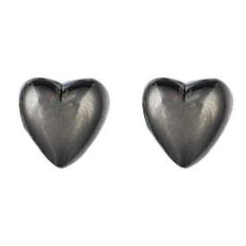 Pilgrim Heart Stud Earrings Hematite Plated