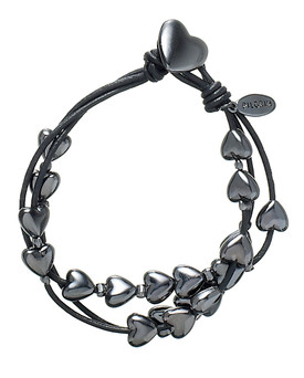 Pilgrim Hearts Charm Bracelet Hematite Plated Leather Cord