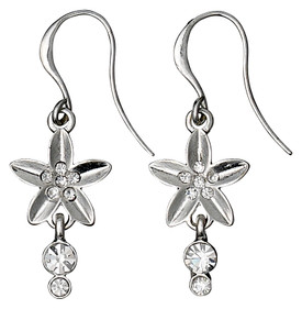 Pilgrim Soft Glimpse Crystal Flower Drop Earrings Silver Plated