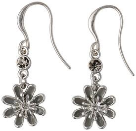 Pilgrim Flower Rosa Silver Plated Blue Drop Earrings 24133-6213