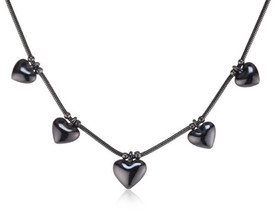 Pilgrim Hearts Necklace Hematite Plated 60123-3061