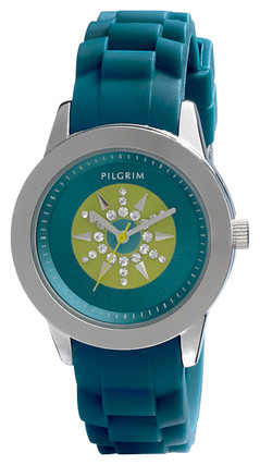 Pilgrim Watch Silver Plated Blue With Silicon Strap 70133-6406