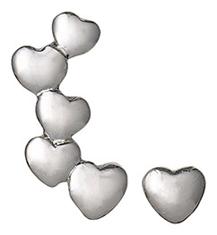 Pilgrim Cuff and Stud Heart Earrings Silver Plated 60131-6033