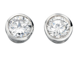 Round Clear Cubic Zirconia Stud Earring 925 Sterling Silver