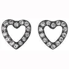 Pilgrim Encrusted Heart Earrings Hematite Plated Crystal 60133-3023