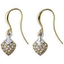 Pilgrim Shimmer Heart Drop Earrings Gold Plated Crystal 14134-2013