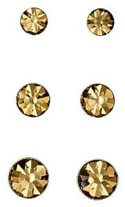 Pilgrim Stud Earrings Triple Set Silver Plated Brown 31132-2503