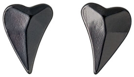 Pilgrim Creased Heart Stud Earrings Hematite Plated 601433013