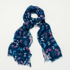 Butterfly And Dragonfly Print Blue Scarf