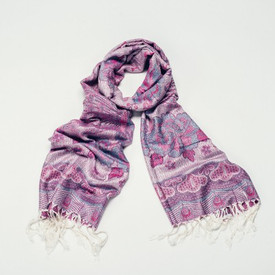 Aesha Cream Bright Peacock Pashmina Style Scarf With Tassels