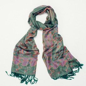 Jala Green Pashmina Style Scarf With Tassels