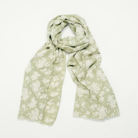 Green Floral Print Design Scarf With A Feathered Edge