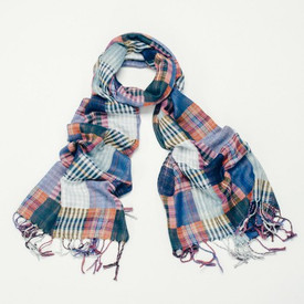 Carly Multicoloured Plaid Print Design Scarf With Tassels