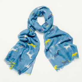 Filly Blue Horse Design Scarf With Feathered Edge