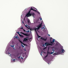 Purple Canine Print Design Scarf With Feathered Edge