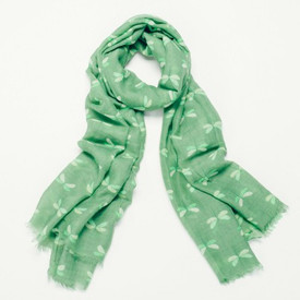 Green Dragonfly Print Design Scarf With Feathered Edge