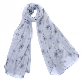 Dandelion Print Grey Scarf With Feathered Edge