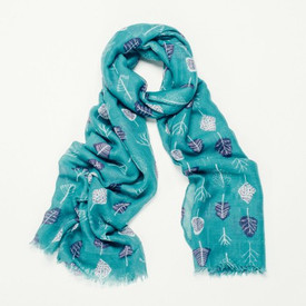 Turquoise Tree Designs Scarf With Feathered Edge
