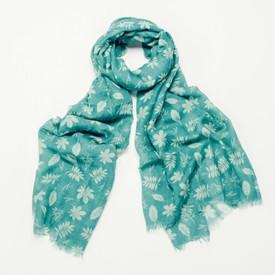 Turquoise Autumn Leaf Design Scarf With Feathered Edge