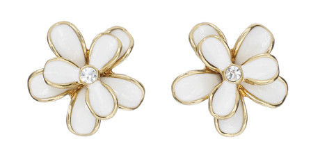 Pilgrim Earring Gold Plated, White