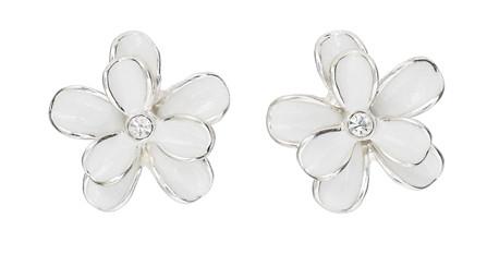 Pilgrim flower earrings silver plated white 648 063 buy pilgrim pilgrim earring silver plated white mightylinksfo