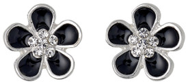 Pilgrim Flower Stud Earrings Silver Plated Black 60153-6143