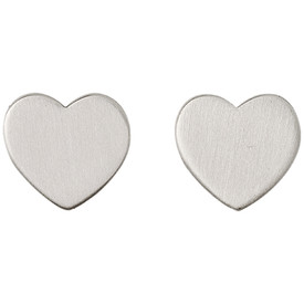 Pilgrim Heart Stud Earrings Silver Plated  601616073