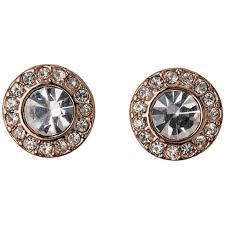 Pilgrim Stud Earrings Rose Gold Plated Crystal 60133-4063