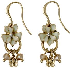 Pilgrim Sweetie Flower Drop Earrings Gold Plated Green 221612423