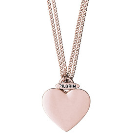 Pilgrim Chunky Heart Necklace Rose Gold Plated 45/90cm 601514051