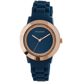 Pilgrim Watch Rose Gold Plated Blue With Rubber Strap 701534220