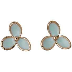 Pilgrim Mint Flower Stud Earrings Rose Gold Plated 611614423