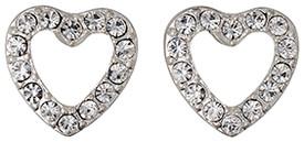 Pilgrim Encrusted Heart Earrings Silver Plated Crystal 60133-6023