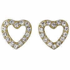 Pilgrim Encrusted Heart Earrings Gold Plated Crystal 60133-2023