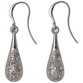 Pilgrim Drop Earrings Silver Plated Crystal 611536073