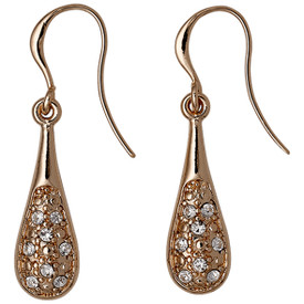 Pilgrim Drop Earrings Rose Gold Plated Crystal 611534073