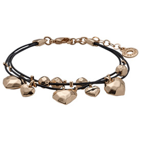Pilgrim Hearts Leather Bracelet Rose Gold Plated 611534002