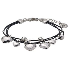 Pilgrim Hearts Leather Bracelet Silver Plated 611536002
