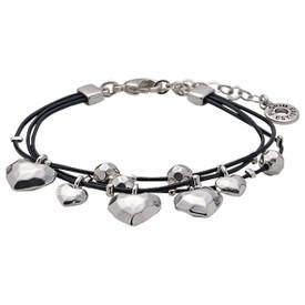 Pilgrim Hearts Leather Bracelet Silver Plated 611536002