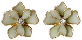 Pilgrim Sweetie Flower Stud Earrings Gold Plated Green 221612403