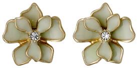 Pilgrim Sweetie Flower Stud Earrings Gold Plated Green 221612403
