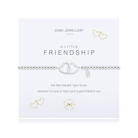 Joma Jewellery A Little Friendship Hearts Silver Plated Bracelet + Gift Bag/Tag