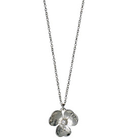 Pilgrim Crystal Stones Flower Necklace Silver Plated 40cm + 9cm 601636031