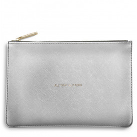 Katie Loxton 'All That Glitters' Perfect Pouch/Clutch Bag Metallic Silver