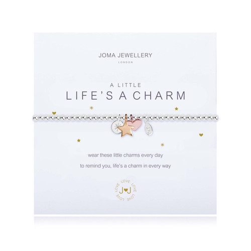 f54a986c63244 Joma A Little Lifes A Charm Bracelet Silver Balls with Rose Gold Heart