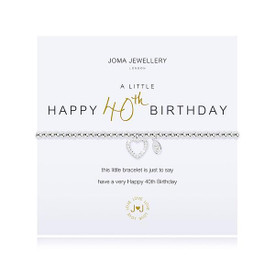 Joma Jewellery A Little Happy 40th Birthday Bracelet + Gift Bag/Tag
