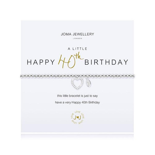 Joma Jewellery A Little Happy 40th Birthday Bracelet Gift Bag Tag